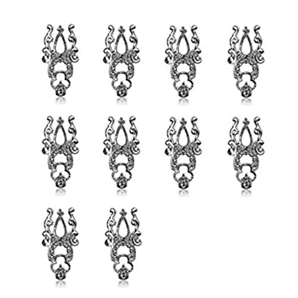 10ピース3d中空ネイルアート合金のヒント装飾ジュエリーキラキララインストーン,Silver