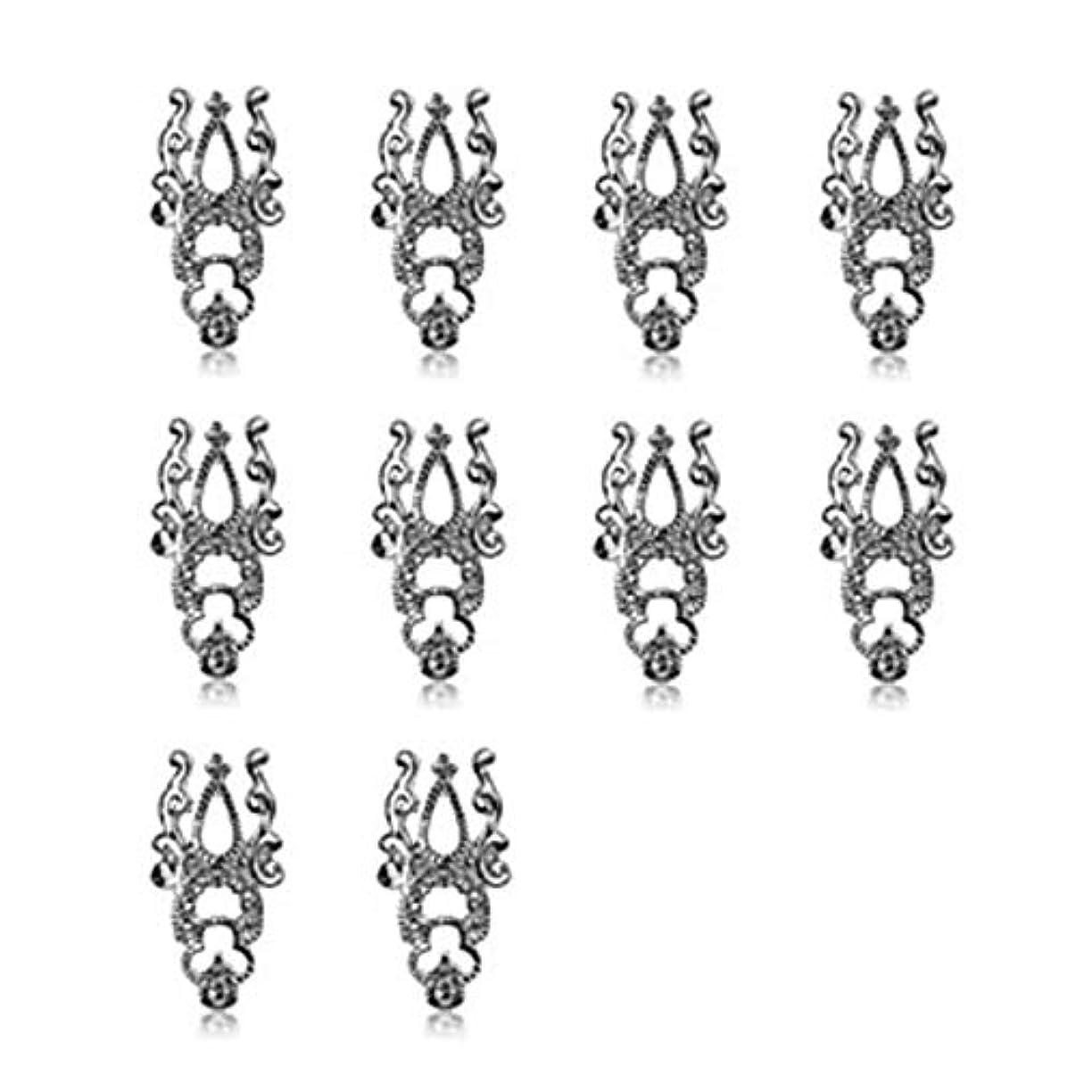 わかる化学バケツ10ピース3d中空ネイルアート合金のヒント装飾ジュエリーキラキララインストーン,Silver