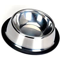 Lautechco ペットボウル お皿 犬 猫 ペット用 食器 ステンレス製食器 犬用富士型 給餌容器 給水容器 滑り止め付き フードボウル (16CM)