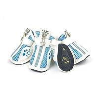 Qiaoxianpo001 犬の靴、犬のアウトドアスポーツシューズ、犬の雨のブーツ、犬の通気性のカジュアルメッシュシューズ、ペット用品、赤、青、ピンク(1-5#) 耐摩耗性 (Color : Blue, Size : No.2)