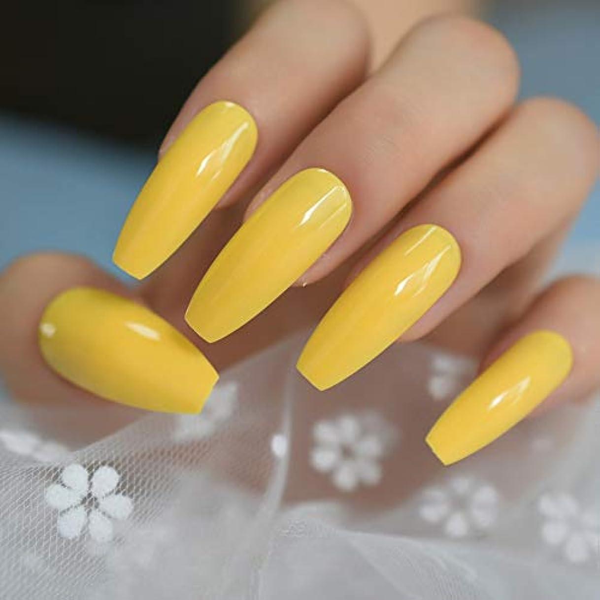 プリーツ考慮冒険家XUTXZKA 偽爪のネオンの明るい黄色のプレス、指の爪の余分な長いketの形の無料の粘着テープ