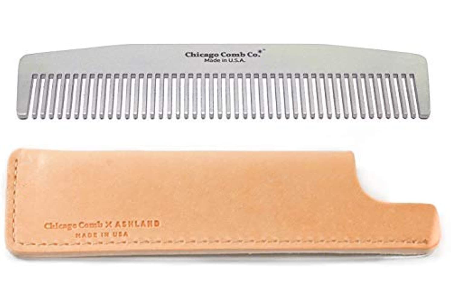 Chicago Comb No. 3 Stainless Steel + Horween Natural Leather Sheath, Made in USA, Ultra-Smooth, Durable, Anti-Static...