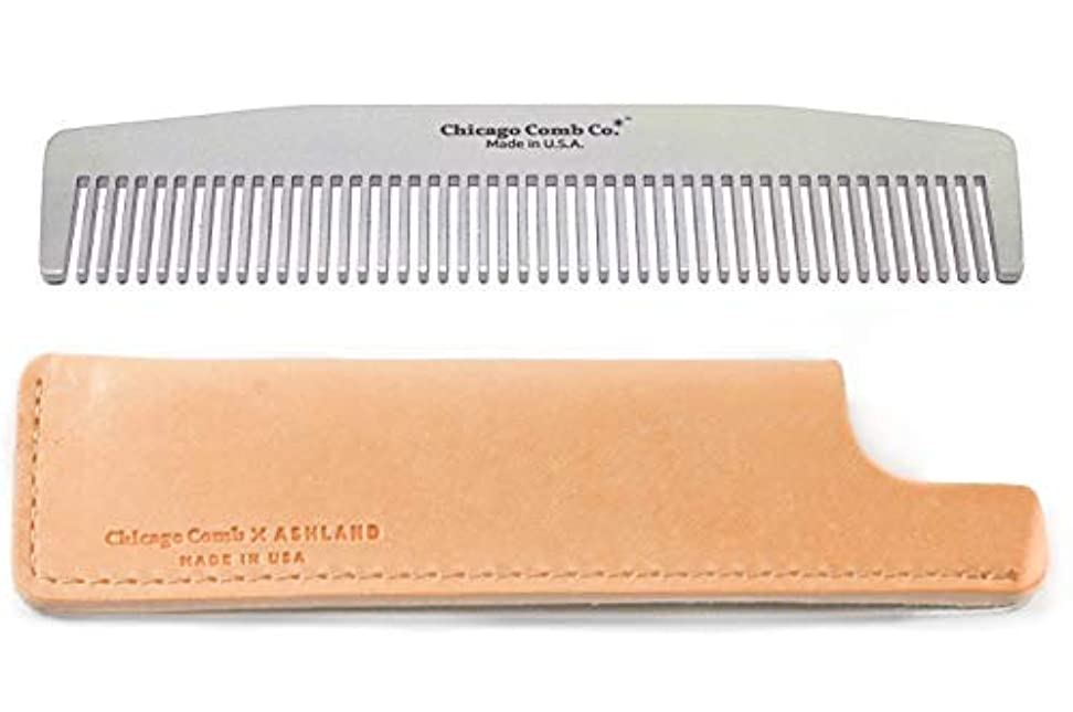 アリスミトン下線Chicago Comb No. 3 Stainless Steel + Horween Natural Leather Sheath, Made in USA, Ultra-Smooth, Durable, Anti-Static...