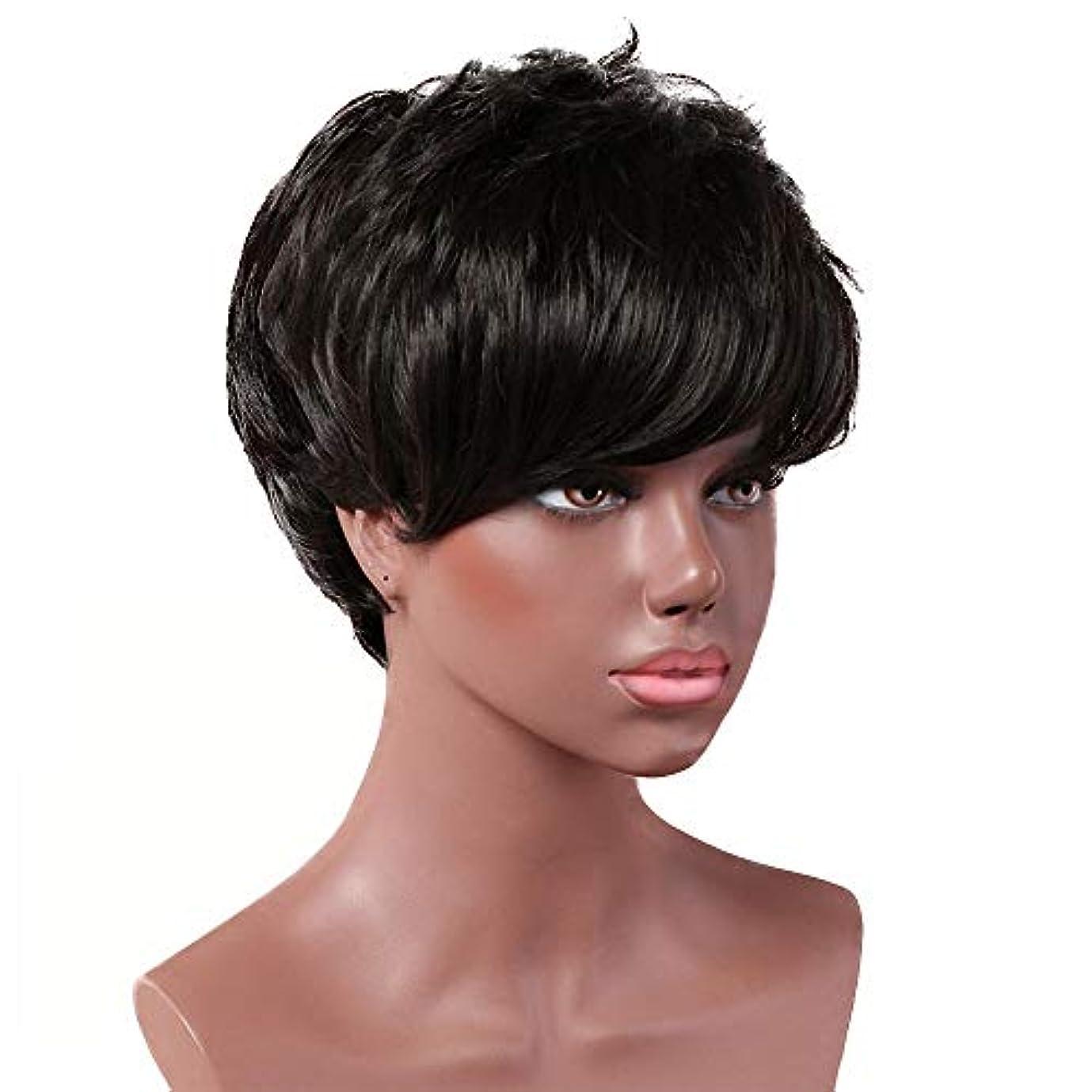 実施する知性はねかける女性用黒ショートカーリーウィッグ自然髪ウィッグ前髪付き合成フルヘアウィッグ女性と女の子用ハロウィンコスプレパーティーウィッグ