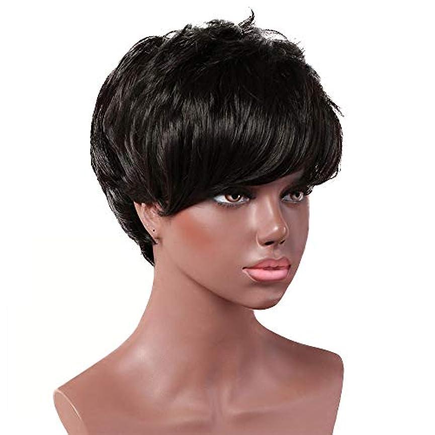 平日群集意志に反する女性用黒ショートカーリーウィッグ自然髪ウィッグ前髪付き合成フルヘアウィッグ女性と女の子用ハロウィンコスプレパーティーウィッグ