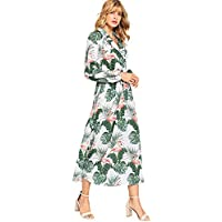 Milumia Women's Bishop Sleeve Surplice Wrap Self Tie Floral Print Maxi Dress