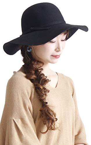 [ゴールドジャパン] 大きいサイズ レディース ハット つば広ハット 帽子 ウール つば広 女優帽 リボン 小顔 無地 humio-021 F ブラック