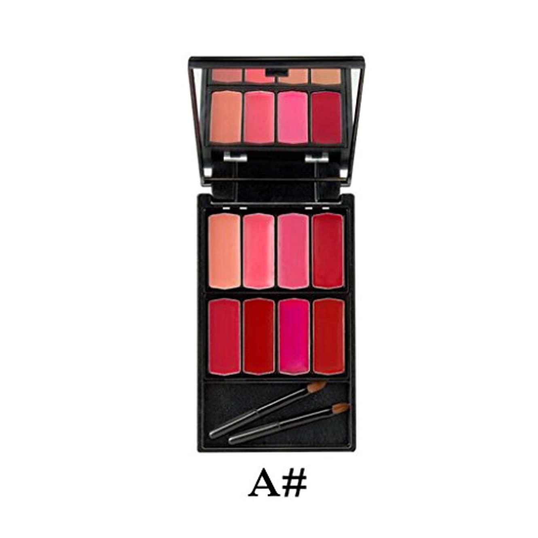 女性ガイダンスゴネリルKesoto 8色入り 持ち運び便利 口紅クリーム メイクアップ パレットキット 贈り物 化粧リップ/チーク/アイシャドー (ミラーブラシ付) - #1