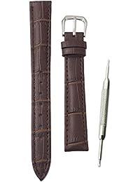【本革製 クロコダイル型押し ダークブラウン 12mm】時計ベルト 時計バンド ストラップ 交換 腕時計【バネ棒外しセット】