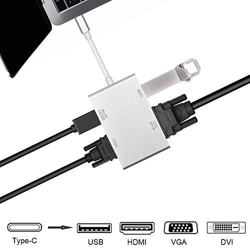 USB Type C to HDMI VGA DVI SD 変換アダプター 映像変換 4in1 4K*2k出力 1080P解像度 USB3.0ポート MacBook 2017 MacBook 2016 MacBook 2015 GoogleChromeBookに対応