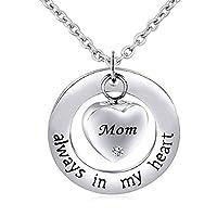 jewelryjo Always In My HeartペンダントUrnネックレスfor灰MomおばあちゃんDad鋼火葬記念品ステンレススチールクリスタル