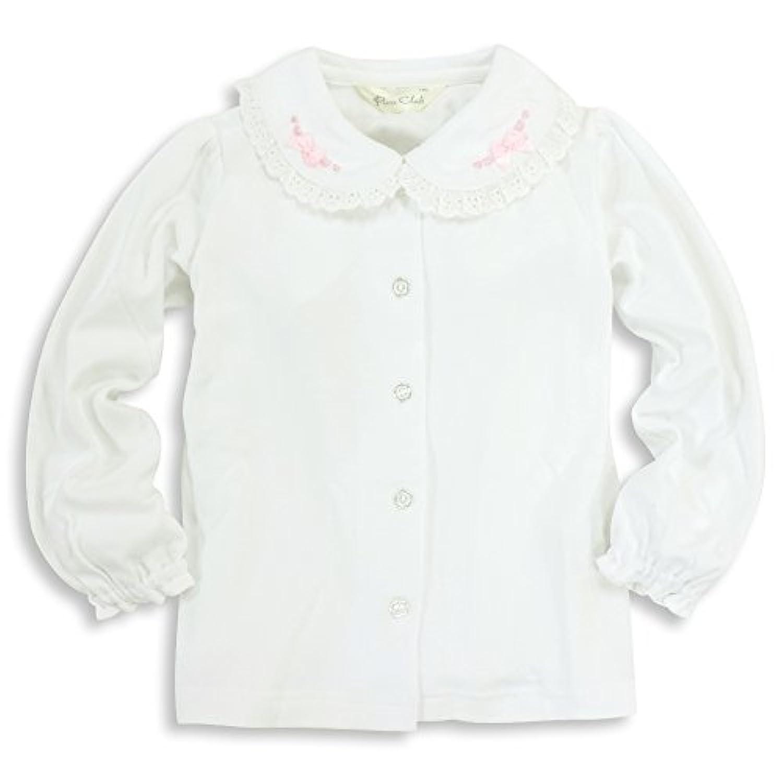ASHBERRY (アッシュベリー) ニットブラウス(白ブラウス)長袖[リボン&刺繍]綿100%/フォーマル/女の子/