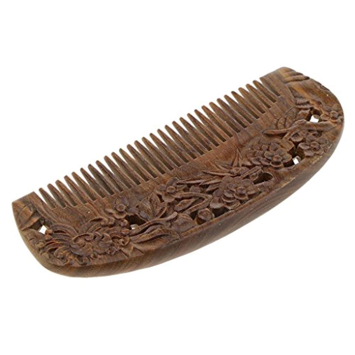 バット再編成する全体に全2種類 ウッドコーム ワイド歯 ヘアブラシ 頭皮マッサージ 木製コーム ヘアスタイリング - #2