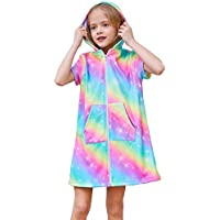 QtGirl Cover Up for Girls Hooded Terry Cloth Cover Ups, Swimsuit Cover Ups Bathing Suit with Zipper for Girl Kids Rainbow