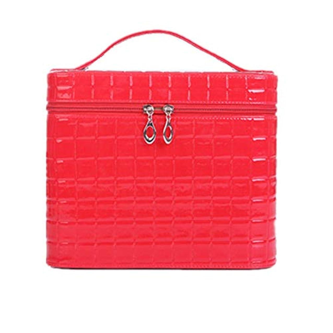 高さ手伝う唯物論化粧オーガナイザーバッグ ジッパーと化粧鏡で小さなものの種類の旅行のための美容メイクアップのための赤いポータブル化粧品バッグ 化粧品ケース