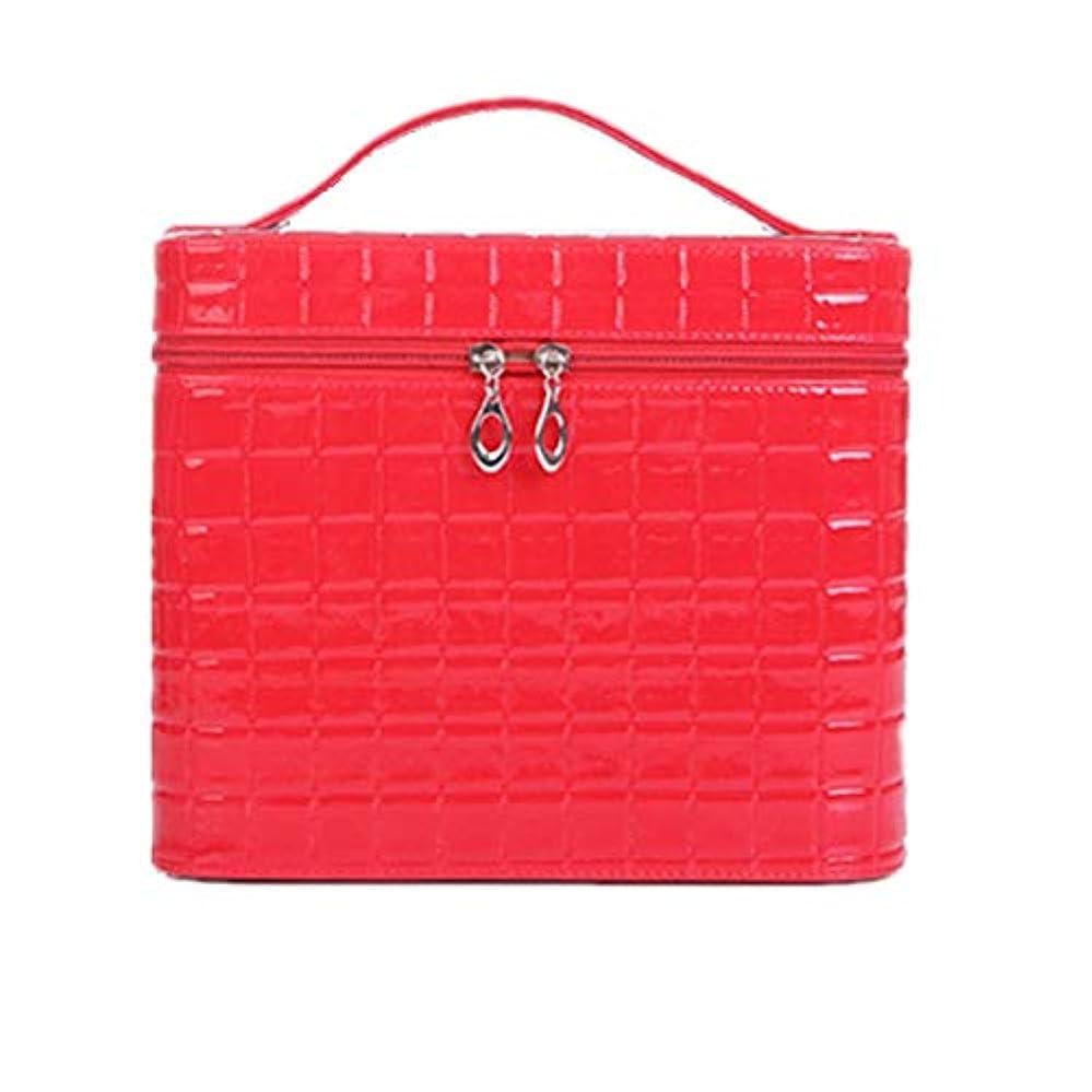保険延期する桃化粧オーガナイザーバッグ ジッパーと化粧鏡で小さなものの種類の旅行のための美容メイクアップのための赤いポータブル化粧品バッグ 化粧品ケース