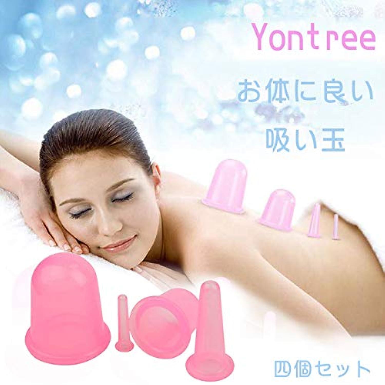 引き付けるキリストキリストマッサージ吸い玉 血液循環改善 湿気や毒素排除 肌を滑らかに 4個セット ピンク
