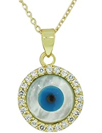 925 Sterling Silver Yellow Gold-Tone CZ Simulated Mother-of-Pearl Evil Eye Pendant Necklace