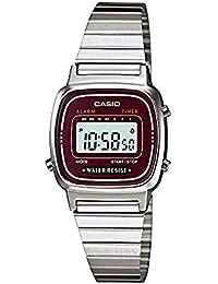 カシオ CASIO レディース 腕時計 デジタル LA670WA-4 ワインレッド/シルバー 海外モデル 並行輸入 [時計] [時計]