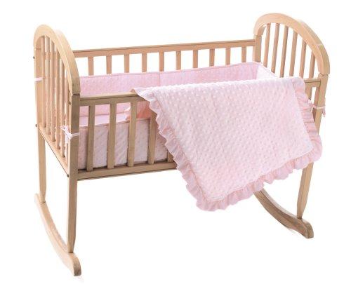 American Baby Company Heavenly Soft Minky Dot 3-Piece Cradle Bedding Set, Pink