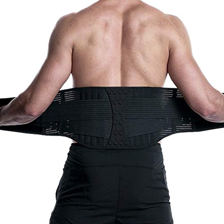 セクタハウジングまっすぐウエストサポートベルト 腰サポーター シェイプアップベルト トレーニング スポーツ用 腰痛ベルト コルセット ぎっくり腰 腰椎固定 姿勢矯正 伸縮性 通気 二重ベルト 男女兼用 (M)