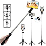 TERSELY Bluetooth Wireless Selfie Stick, 2in1 Ball-Head Rotation Tripod Stand with Shutter Remote, Rear Mirror for Apple iPhone Android Samsung Huawei Gopro Pocket Extendable Monopod Aluminum Alloy