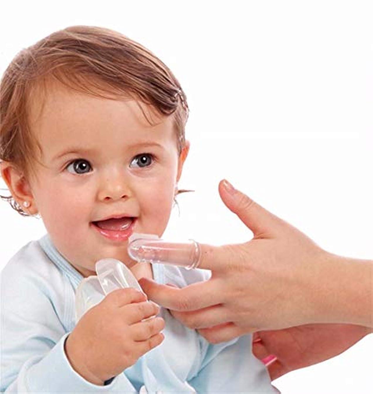 始める腐敗した順応性のある七里の香 ベビー指歯ブラシ、乳児幼児子供用シリコーンソフトオーラルマッサージャージェントルケア
