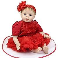 新生児ベビーガール人形22インチLifelike RebornキッズWearingレッドDress Kids誕生日クリスマスギフト