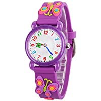 Venhoo Kids Watches 3D Cute Cartoon Waterproof Silicone Children Toddler Wrist Watch Time Teacher Birthday 3-10 Year Girls Little Child