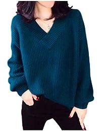 [アンリ] ふんわりニットセーター Vネック ゆったり サイズ 大きめ ベーシックアイテム 秋冬 4色 M ~ XL レディース