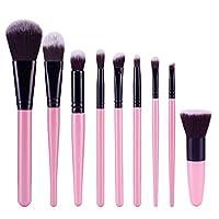 SM SunniMix 9個 メイクアップブラシ 化粧ブラシ メイクブラシセット 柔らかい プロ 化粧ツール 全4色 - ピンク+黒