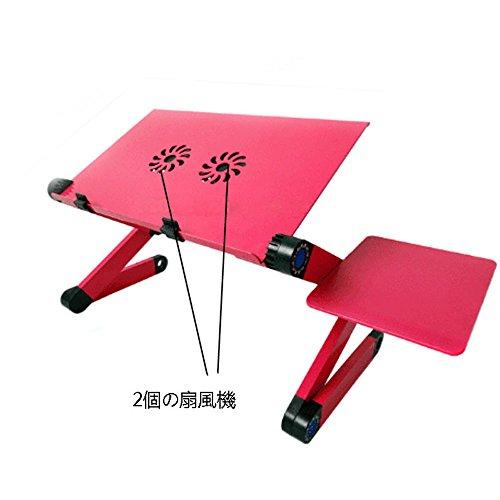 ゲーミングノトファン冷却パッド 折り畳み式ノートパソコンスタンド スマススタンド搭載 360度調節可能 アルミ製 (赤い)