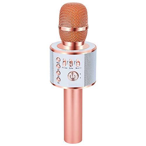 Verkstar Bluetooth カラオケマイク ポータブルスピーカー 高音質カラオケ機器  Bluetoothで簡単に接続 無線マイク 一人でカラオケ イヤフォンジャック付き Android/iPhoneに対応 (ローズゴールド)