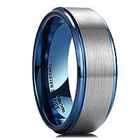 King Will 結婚指輪 タングステンカーバイド ブルー つや消し センターポリッシュ仕上げ デュオ 8ミリ 快適フィット
