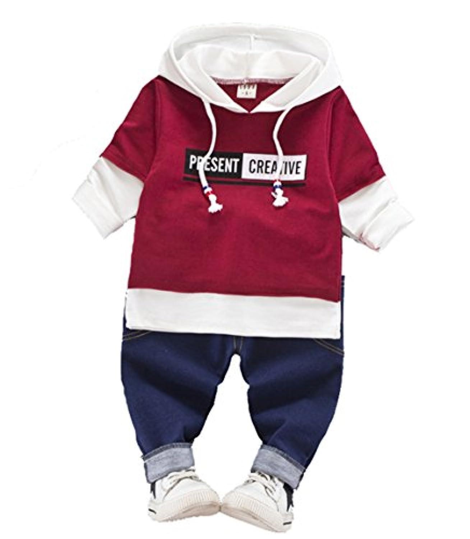 CXYP キッズ服 男の子 春夏 上下セット コットン 子供服 カジュアル 幼児 長袖 80cm~110cm (90cm, レッド)