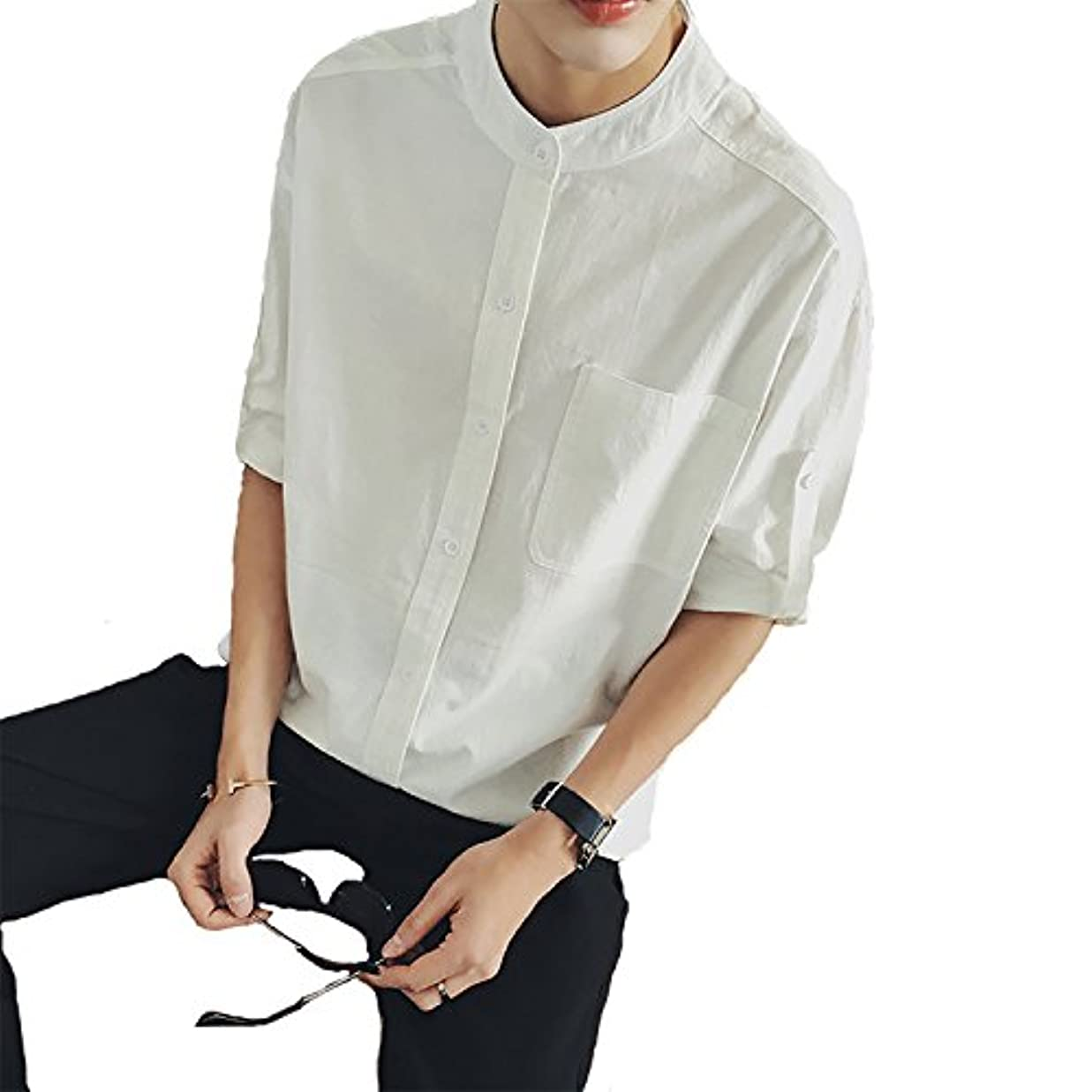 学部長真珠のようなターゲット(ケイミ) KEIMI リネンシャツ メンズ 白 綿麻シャツ 五分 七分袖 アウター ジャケット 男 スタイル 抜け感
