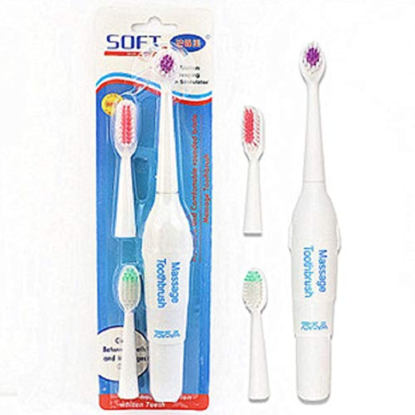 二度単なる私たち自身ペット電動歯ブラシ犬猫電動歯ブラシ、バッテリーなし(ハンドルフォントはランダムに3色で送信されます)(ホワイト)