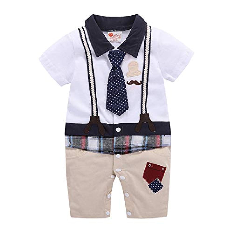 ANKECHANG ベビー服 男の子ロンパース カバーオール 半袖 ネクタイ 紳士 サロペット 前開き 夏 出産祝い 百日祝い 純色 普段着 部屋着