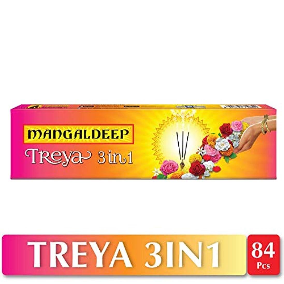 硬さ魔術師促すMangaldeep Treya 3in1 Agarbatti 84 Sticks