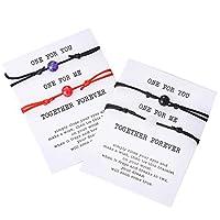 PIPITREE 友情ブレスレット ビーズブレスレット ベストフレンド用 ブレスレットギフトカード 編組ウィッシュブレスレット すべての人にお世話する人へ (4個)
