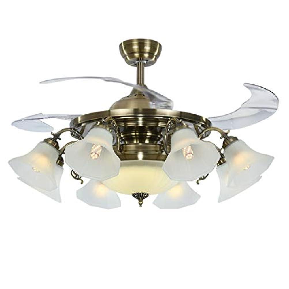 クラウン無効もの42インチの8電球見えない天井のファンライトリビングルームキッチンシャンデリアとリモコン (Color : A)