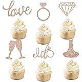 カップケーキトッパー 婚約 結婚式 パーティー飾り ローズゴールド 花嫁 大人 ウエディング 記念日 結婚式パーティーデコレーション 6種類 24個