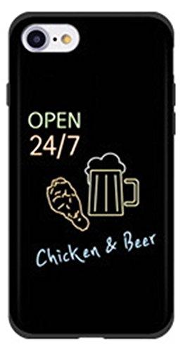 素敵でキュート24時間生ビールとチキンレタリングネオンアート...