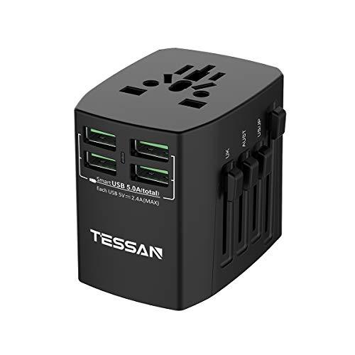 海外旅行変換プラグ BF・A・C・Oタイプ コンセント マルチ電源プラグ TESSAN 4USBポート付 25W /5A 1ポート2.4A(最大) ヨーロッパ/アメリカ/イギリス/オーストラリア等世界中150ケ以上の国に対応