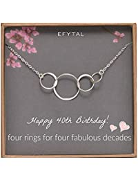 EFYTAL 40th Birthday Gifts Women, Sterling Silver Four Circle Necklace Her 4 Decade Jewelry 40 Years Old