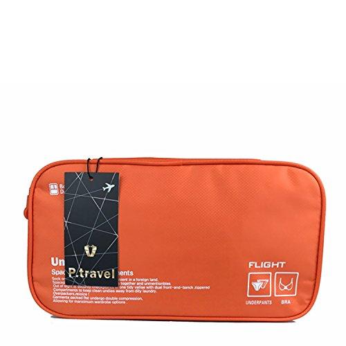 (ピ・トラベル) P.travel トラベルポーチ 下着収納ポーチ 収納グッズ ランジェリーケース 出張・海外旅行グッズ 2~3泊用 オレンジ