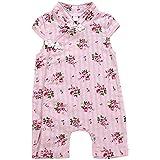 ANKECHANG ベビー服 ロンパース カバーオール 女の子 半袖 夏服 前開き 花柄 純色 チーパオ 出産祝い 百日祝い 満月