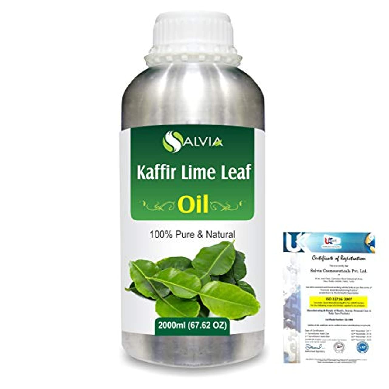 ガレージ投げ捨てる観察するKaffir Lime Leaf (Citrus Hystrix) 100% Natural Pure Essential Oil 2000ml/67 fl.oz.