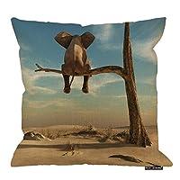 象の正方形の枕クッションカバー、超現実的な景色の枯れた木の細い枝に象が立つ綿のリネンのクッションカバー家の装飾的な投球枕カバー、45×45 CM
