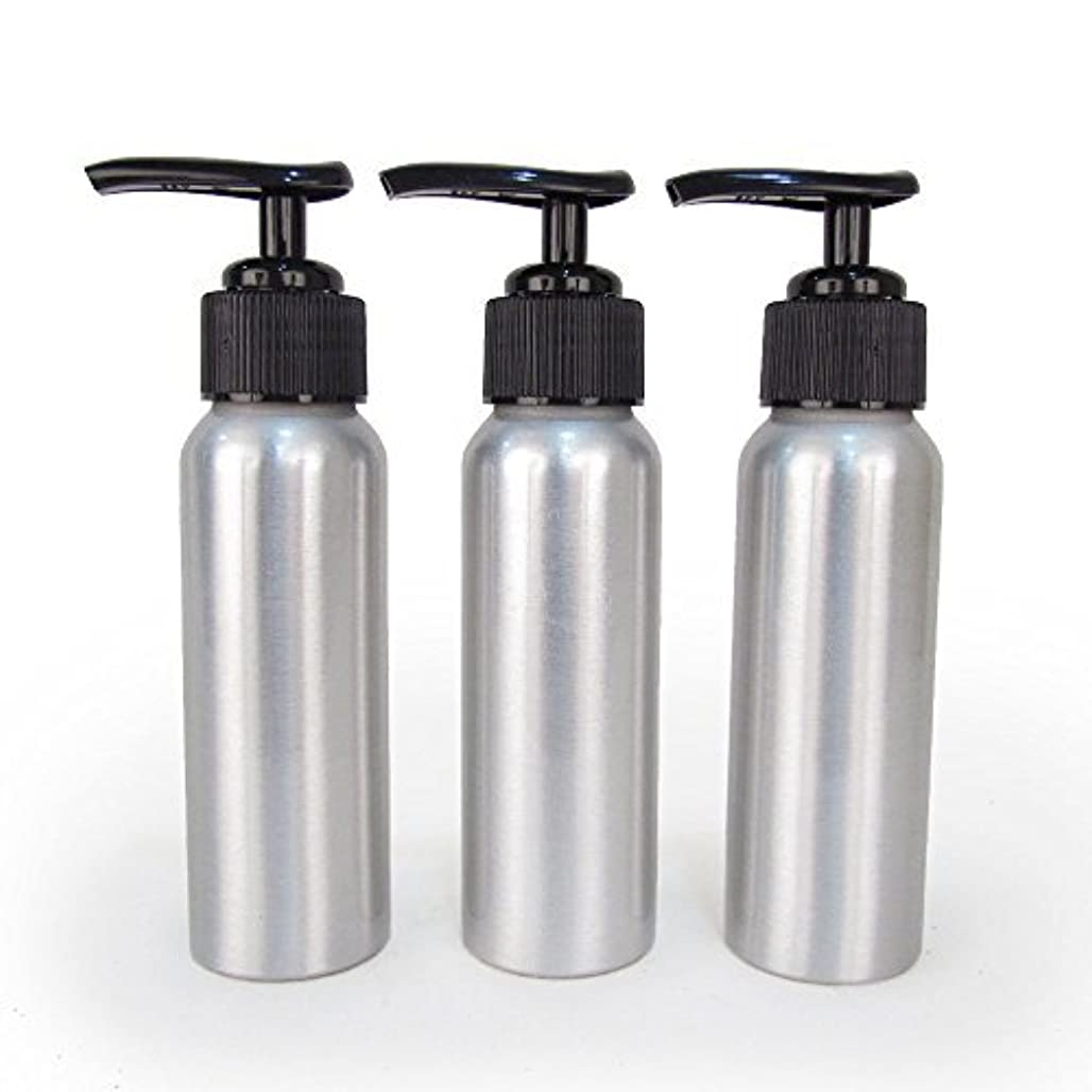Set of 3 - Slender Brushed Aluminum 2.7 oz Pump Bottle for Essential Oil Products by Rivertree Life [並行輸入品]